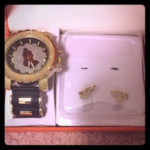 Earring and watch combo praying hands